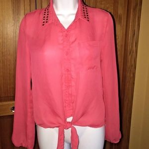 Charlotte Russe-Studded Collar-Sheer-Coral-Blouse